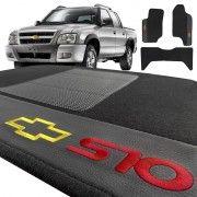 Jogo de Tapete em Carpete Preto com Bordado S10 CD até 2011
