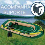 Bote Inflável Intex Seahawk 4 Pessoas 400 Remo Suporte Motor