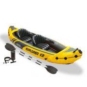 Caiaque Inflável Explorer K2 Com Remos E Bomba Intex Canoa