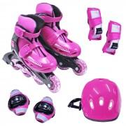 Kit Patins Radical Rollers Ajustavel + Kit Proteção 28 a 39 - Bel Sports