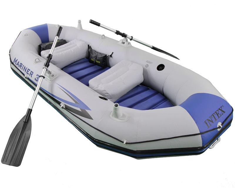 Bote Inflável Intex Mariner 3 C / Par Remos Bomba Barco Pesca