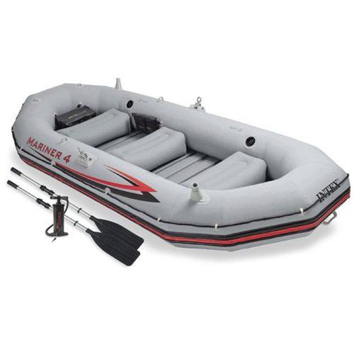 Bote Inflável Intex Mariner 4 C / Par Remos Bomba Barco Pesca