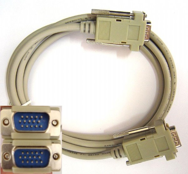 CABO MONITOR VGA HD15 MACHO X HD15 MACHO 5,00 MTS
