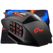 Mouse Gamer Warrior Laser 18 Botões 4000DPI Preto USB + Mouse Pad Multilaser MO206