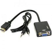Cabo Adaptador Conversor HDMI x VGA Saída de Áudio P2