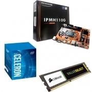 Kit Placa Mãe IPMH110 1151 + Processador Intel Celeron G3930 + 4gb Ram DDR4 2133MHZ Corsair