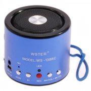 Mini Speaker WS-138RC MP3/FM/USB - Azul