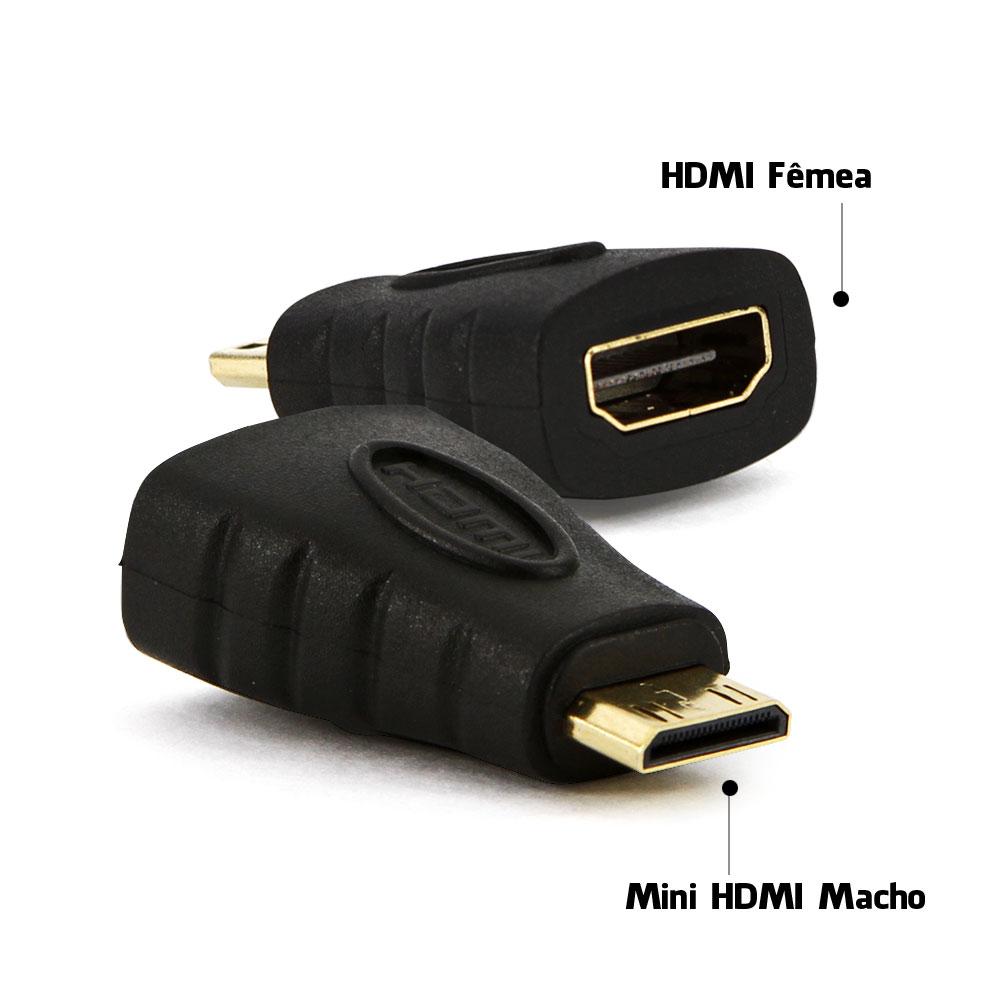 Adaptador MIni HDMI Macho X HDMI Fêmea Preto
