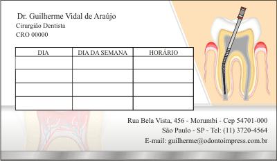 Cartão de Retorno ENDODONTIA - Ref. 2092  - Odonto Impress