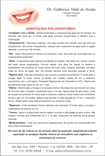 Orientações Pós-Operatórias - Ref. 3303