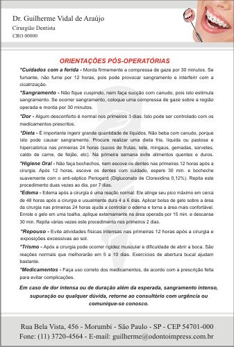 Orientações Pós-Operatórias ORTODONTIA- Ref. 3371