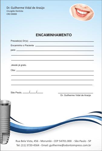 Bloco Encaminhamento Paciente IMPLANTODONTIA - Ref. 3460