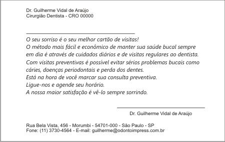 Cartão Chamada para Prevenção - Ref. 1406  - Odonto Impress