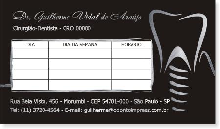 Cartão de Retorno IMPLANTODONTIA - Ref. 2063  - Odonto Impress