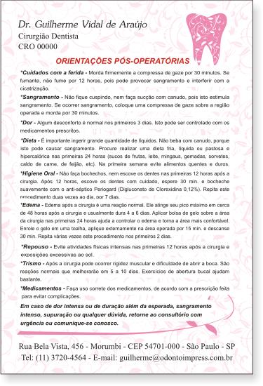 Orientações Pós-Operatórias - Ref. 0592