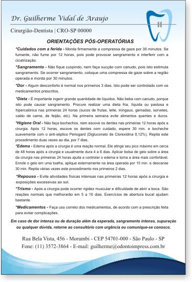 Orientações Pós-Operatórias ORTODONTIA - Ref. 3368
