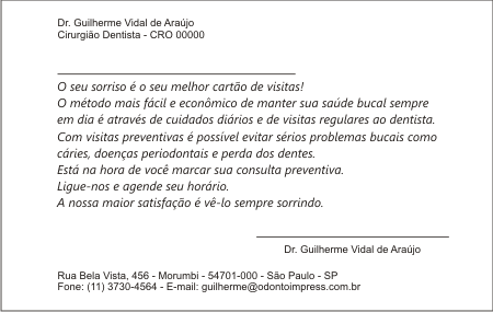 Cartão Chamada para Prevenção - Ref. 1399  - Odonto Impress