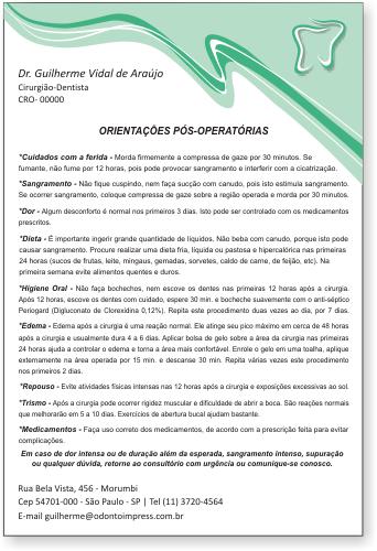 Orientações Pós-Operatórias - Ref. 0589