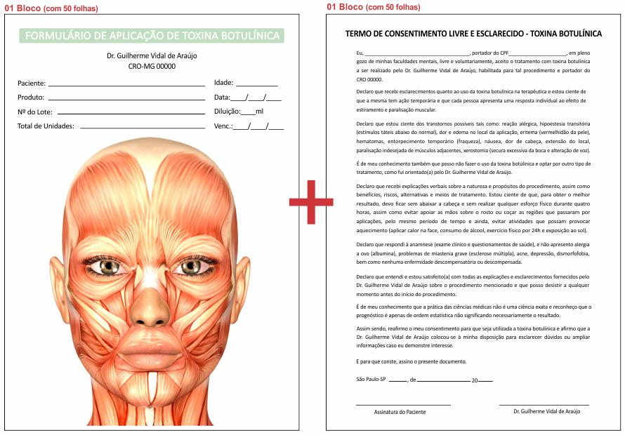 Formulário de Aplicação Toxina Botulínica + Termo de Consentimento - Ref 2102