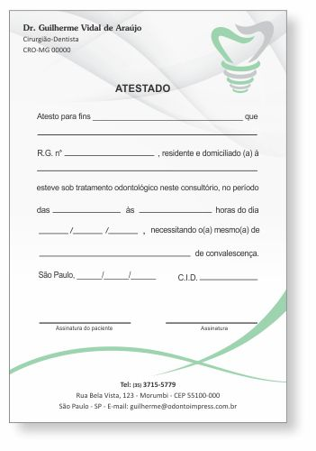Atestado IMPLANTODONTIA - Ref. 1057  - Odonto Impress