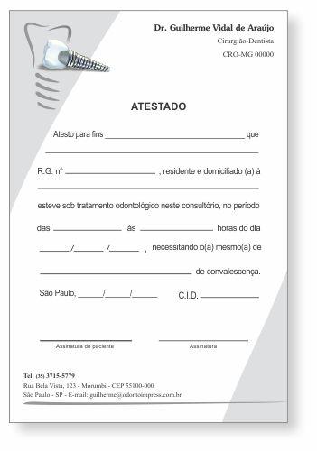 Atestado IMPLANTODONTIA - Ref. 1059