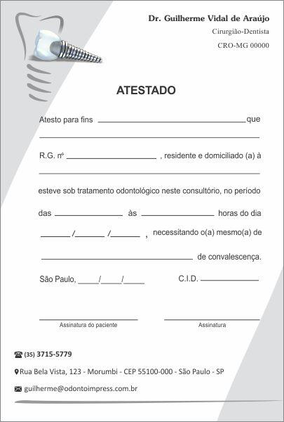 Atestado IMPLANTODONTIA - Ref. 1059  - Odonto Impress