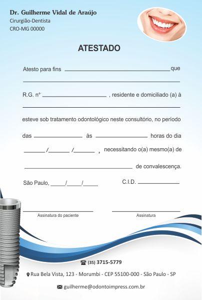 Atestado IMPLANTODONTIA - Ref. 1060  - Odonto Impress