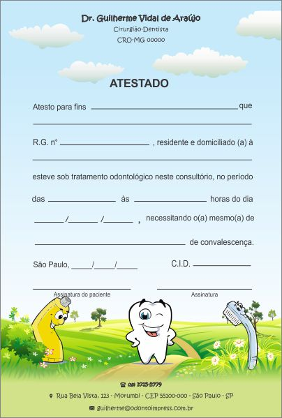 Atestado PEDIATRIA - Ref. 1032  - Odonto Impress