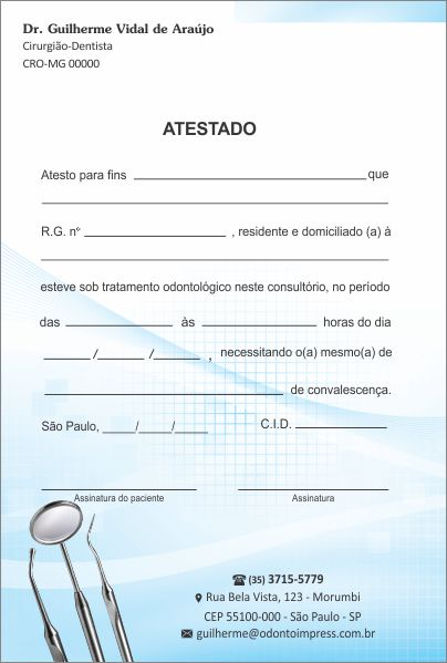 Atestado - Ref. 0793  - Odonto Impress
