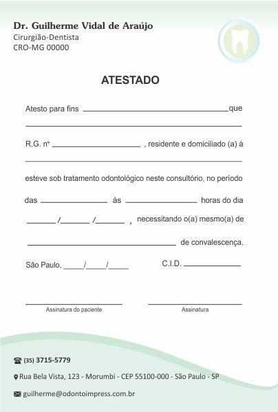 Atestado - Ref. 1010  - Odonto Impress