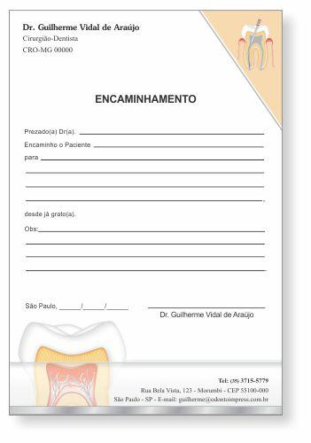 Bloco Encaminhamento Paciente ENDODONTIA - Ref. 3452