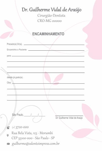 BLOCO ENCAMINHAMENTO PACIENTE - HOF - REF. 0677  - Odonto Impress