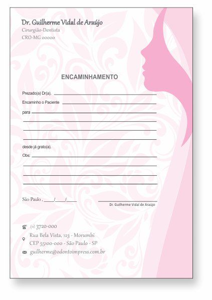 BLOCO ENCAMINHAMENTO PACIENTE - HOF - REF. 0682