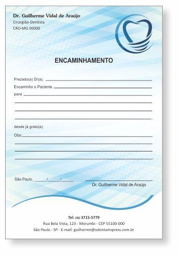 Bloco Encaminhamento Paciente IMPLANTODONTIA - Ref. 3456
