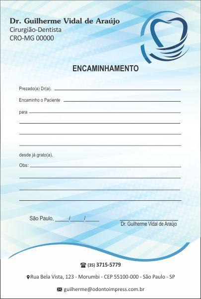 Bloco Encaminhamento Paciente IMPLANTODONTIA - Ref. 3456  - Odonto Impress