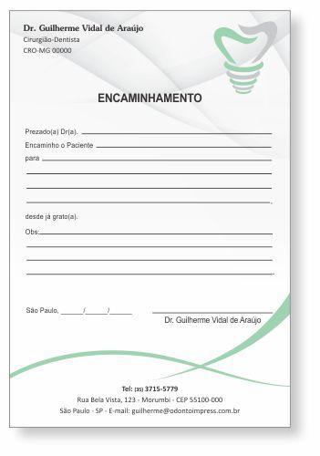 Bloco Encaminhamento Paciente IMPLANTODONTIA - Ref. 3457