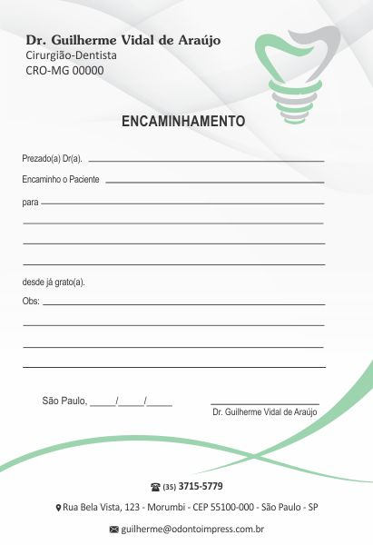 Bloco Encaminhamento Paciente IMPLANTODONTIA - Ref. 3457  - Odonto Impress