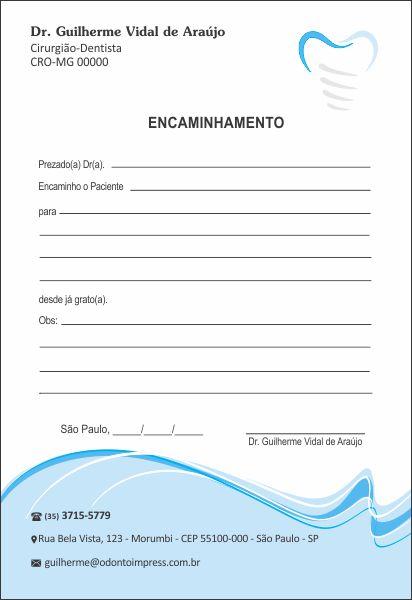 Bloco Encaminhamento Paciente IMPLANTODONTIA - Ref. 3458  - Odonto Impress