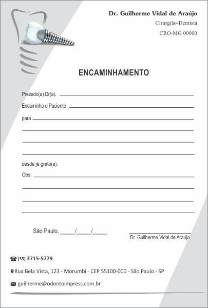 Bloco Encaminhamento Paciente IMPLANTODONTIA - Ref. 3459  - Odonto Impress