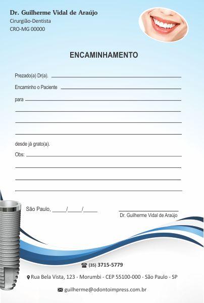 Bloco Encaminhamento Paciente IMPLANTODONTIA - Ref. 3460  - Odonto Impress