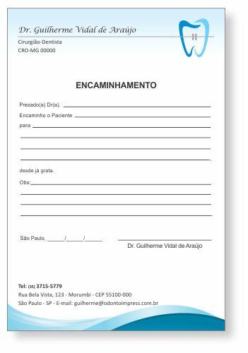 Bloco Encaminhamento Paciente ORTODONTIA - Ref. 3468