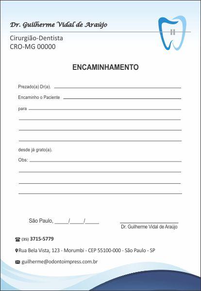 Bloco Encaminhamento Paciente ORTODONTIA - Ref. 3468  - Odonto Impress