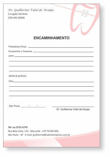 Bloco Encaminhamento Paciente ORTODONTIA - Ref. 3469