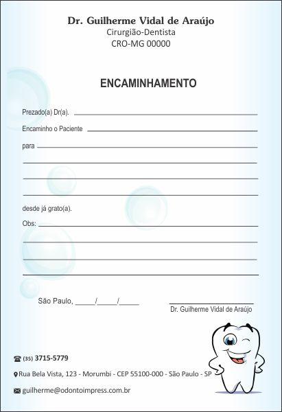 Bloco Encaminhamento Paciente PEDIATRIA - Ref. 3431  - Odonto Impress