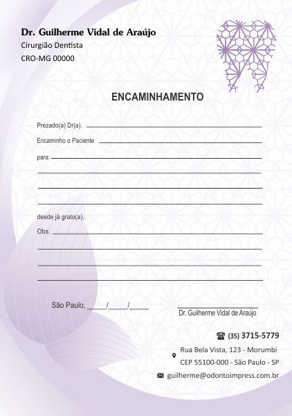 BLOCO ENCAMINHAMENTO PACIENTE - REF. 0612  - Odonto Impress