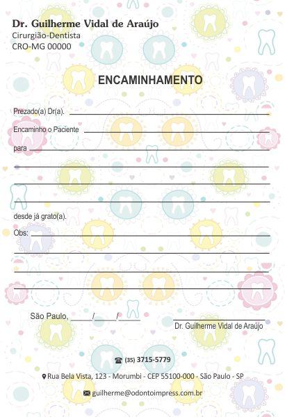 Bloco Encaminhamento Paciente - Ref. 0683  - Odonto Impress