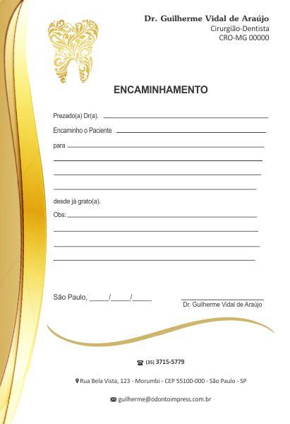 Bloco Encaminhamento Paciente - Ref. 0684  - Odonto Impress