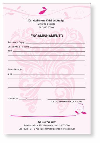 Bloco Encaminhamento Paciente - Ref. 0685  - Odonto Impress