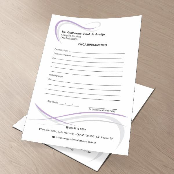 Bloco Encaminhamento Paciente - Ref. 0686  - Odonto Impress