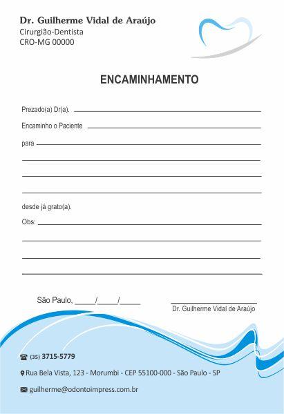 Bloco Encaminhamento Paciente - Ref. 0687  - Odonto Impress